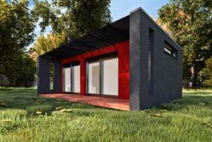 maison de jardin design avec façade noire et rouge